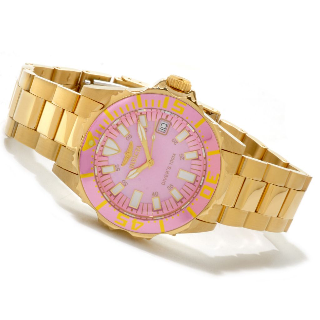 606-694 - Invicta Women's Pro Diver Quartz Mother-of-Pearl Dial Stainless Steel Bracelet Watch