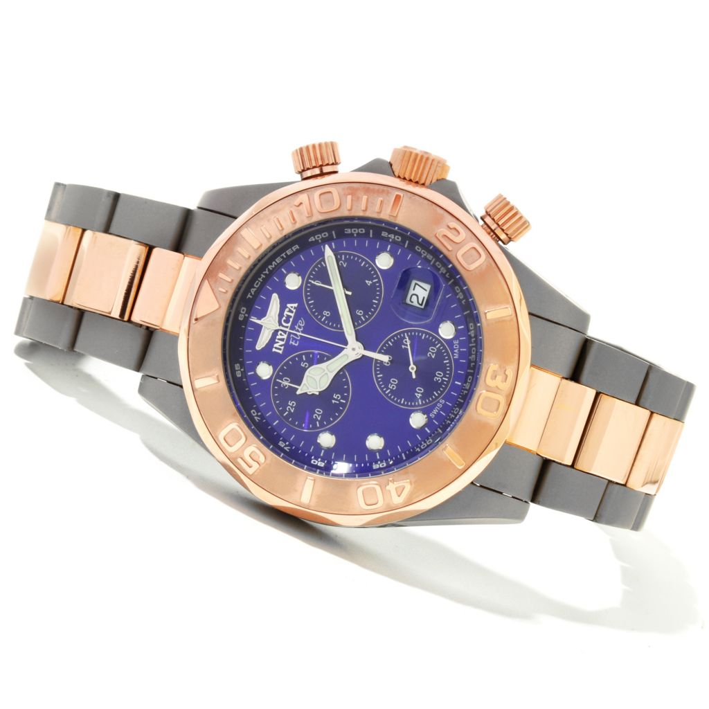 606-749 - Invicta 44mm Pro Diver Elite Swiss Quartz Chronograph Bracelet Watch
