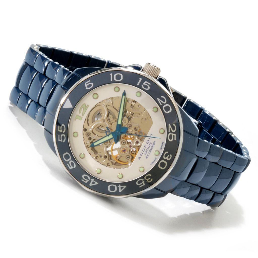 606-881 - Android Men's or Women's Divemaster Automatic Skeleton Ceramic Bracelet Watch