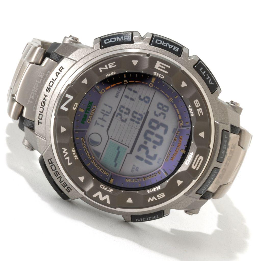 607-013 - Casio Men's Pathfinder Quartz Solar Atomic Titanium Bracelet Watch