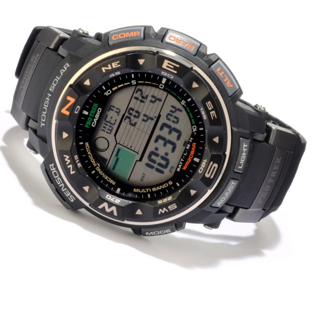 607-047 - Casio Men's Pathfinder Quartz Solar Atomic Rubber Strap Watch