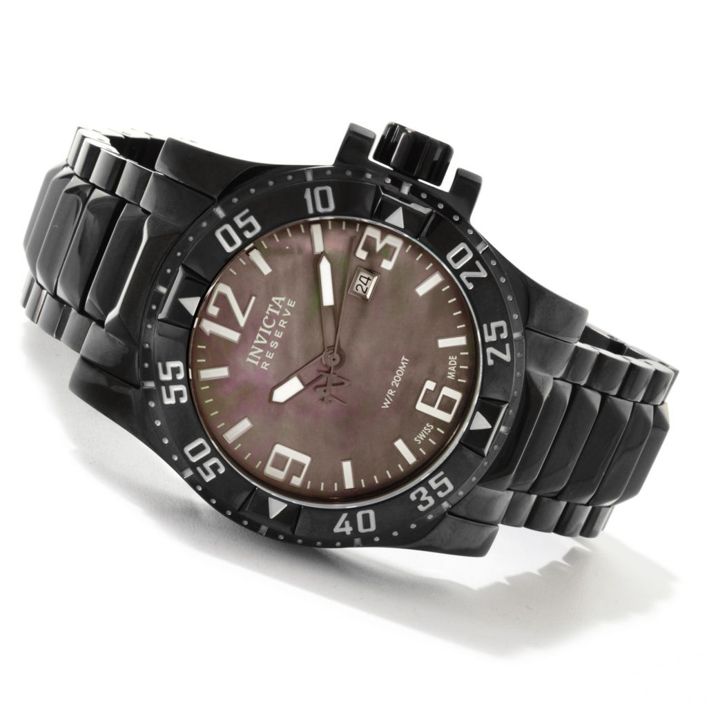 607-165 - Invicta Reserve Men's Excursion Swiss Made Quartz Mother-of-Pearl Dial Watch w/ Three-Slot Dive Case