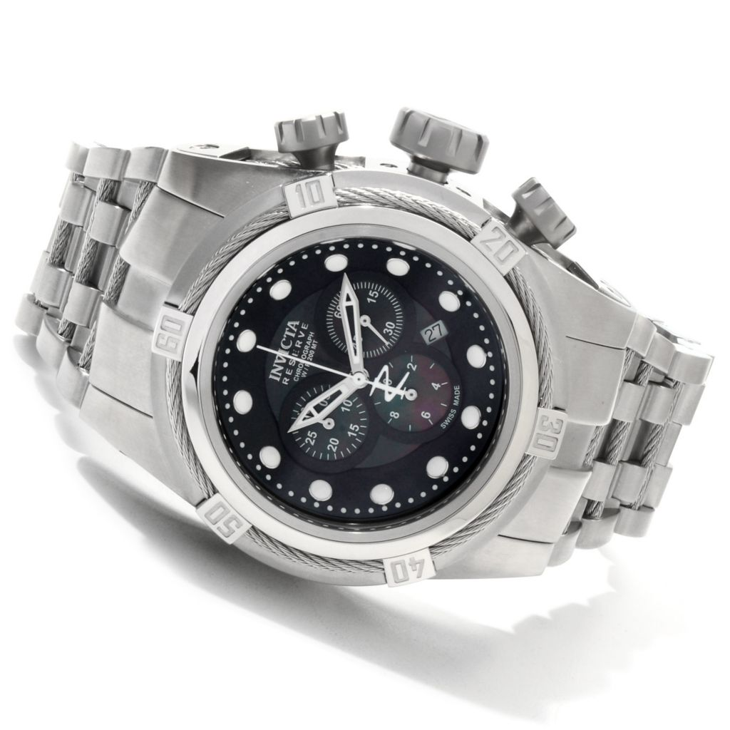 607-290 - Invicta Reserve 51mm Bolt Zeus Swiss Made Quartz Chronograph Mother-of-Pearl Dial Bracelet Watch