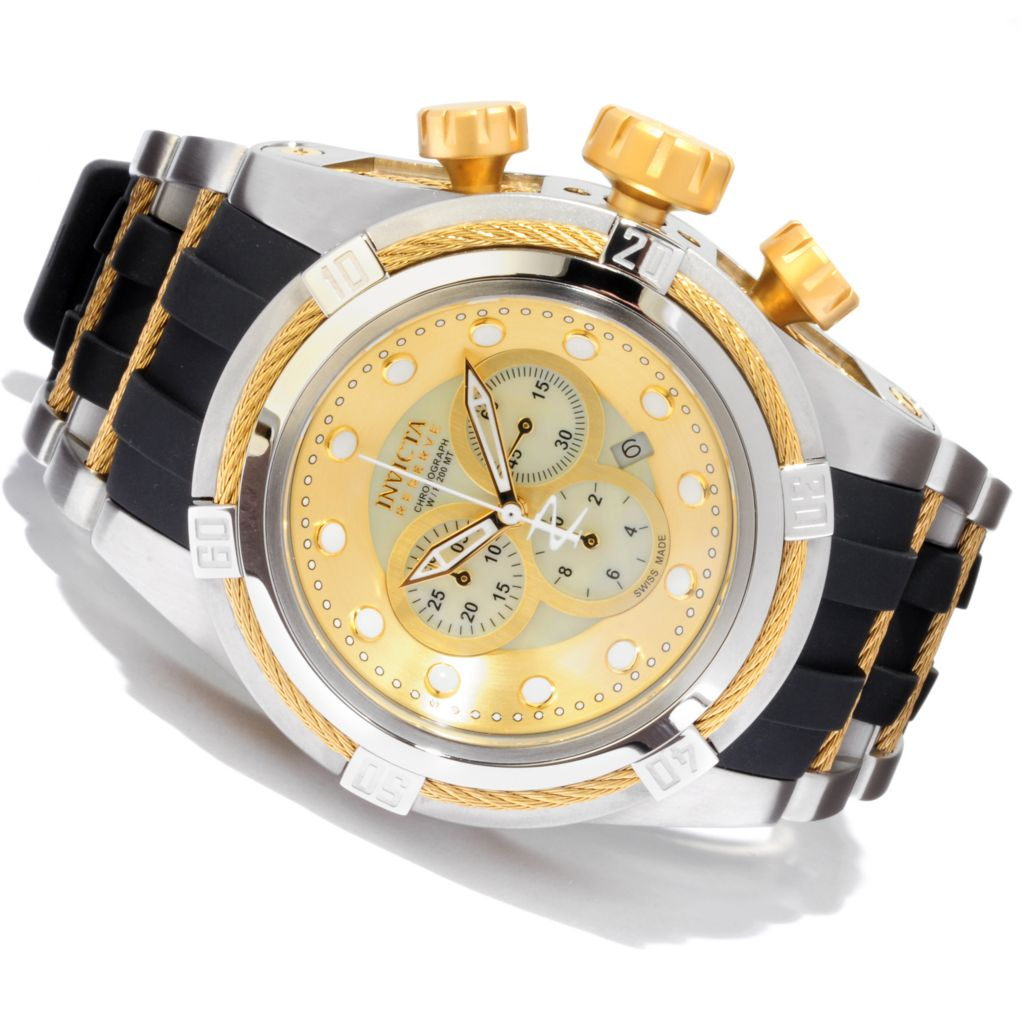 607-301 - Invicta Reserve 52mm Bolt Zeus Swiss Made Quartz Chronograph Mother-of-Pearl Dial Strap Watch