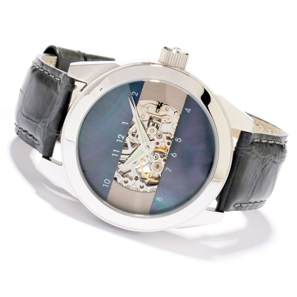 607-303 - Android 48mm or 40mm Horizon 2 Automatic Skeleton Mother-of-Pearl Dial Leather Strap Watch