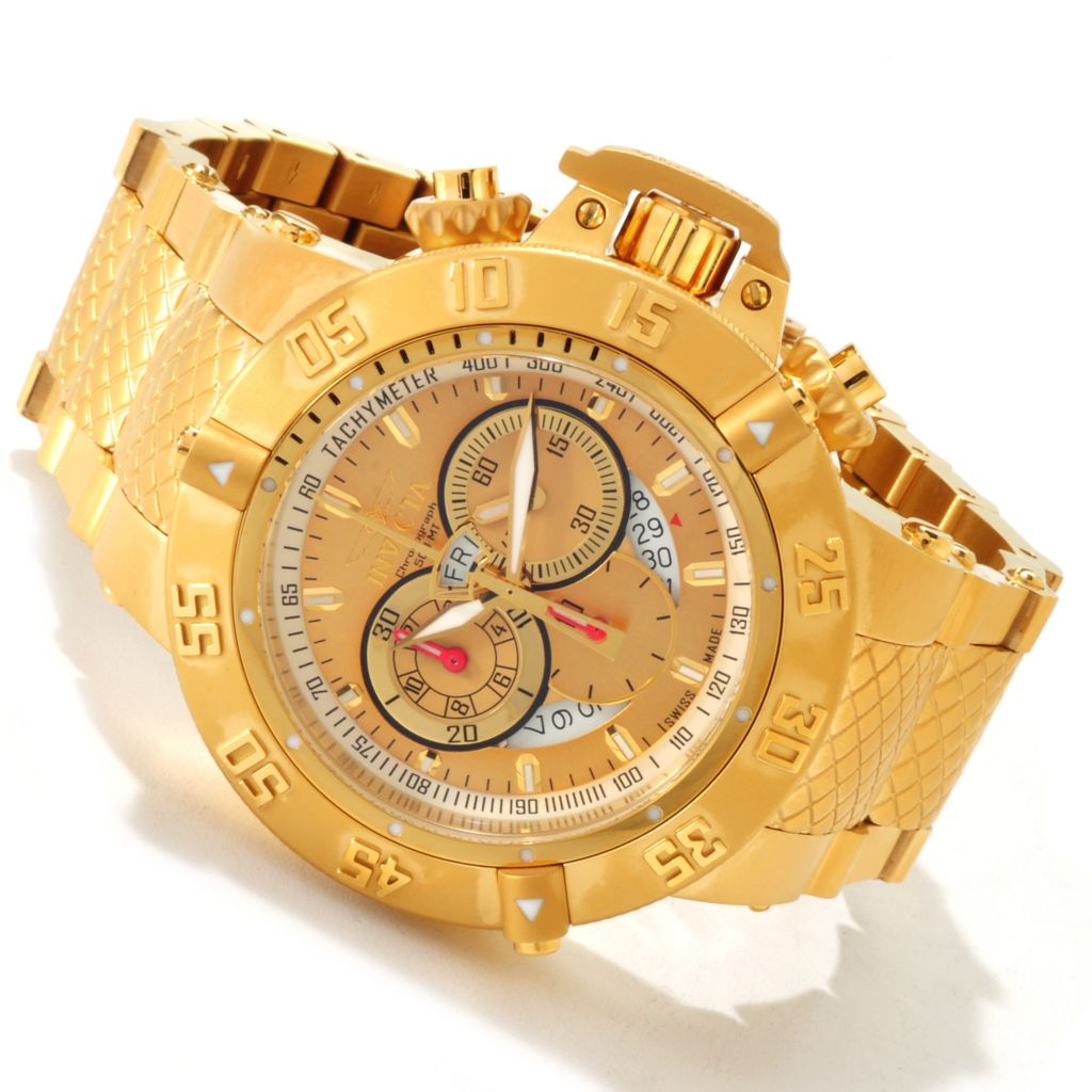 607-388 - Invicta Men's Subaqua Noma III Swiss Made Quartz Chronograph 18K Gold Plated Bracelet Watch
