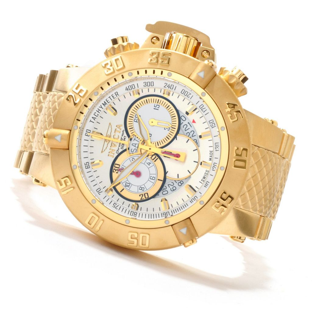 607-389 - Invicta 50mm Subaqua Noma III Swiss Made Quartz Chronograph 18K Gold Plated Bracelet Watch