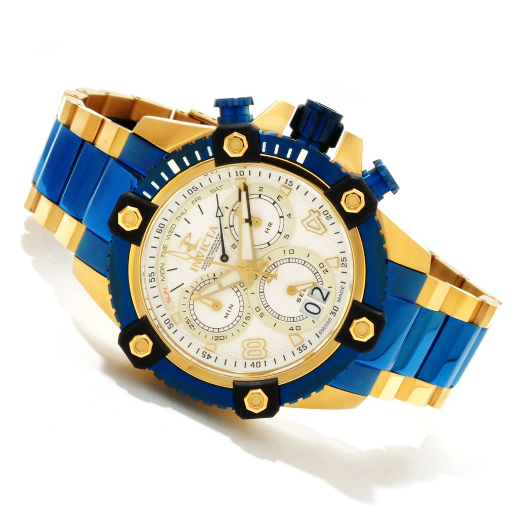 607-589 - Invicta Reserve 48mm Swiss Made Quartz Chronograph Bracelet Watch w/ Three-Slot Dive Case
