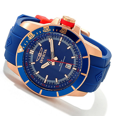 607-617 - Invicta Men's Ocean Baron Pro Diver Quartz Polyurethane Strap Watch w/ Three-Slot Dive Case