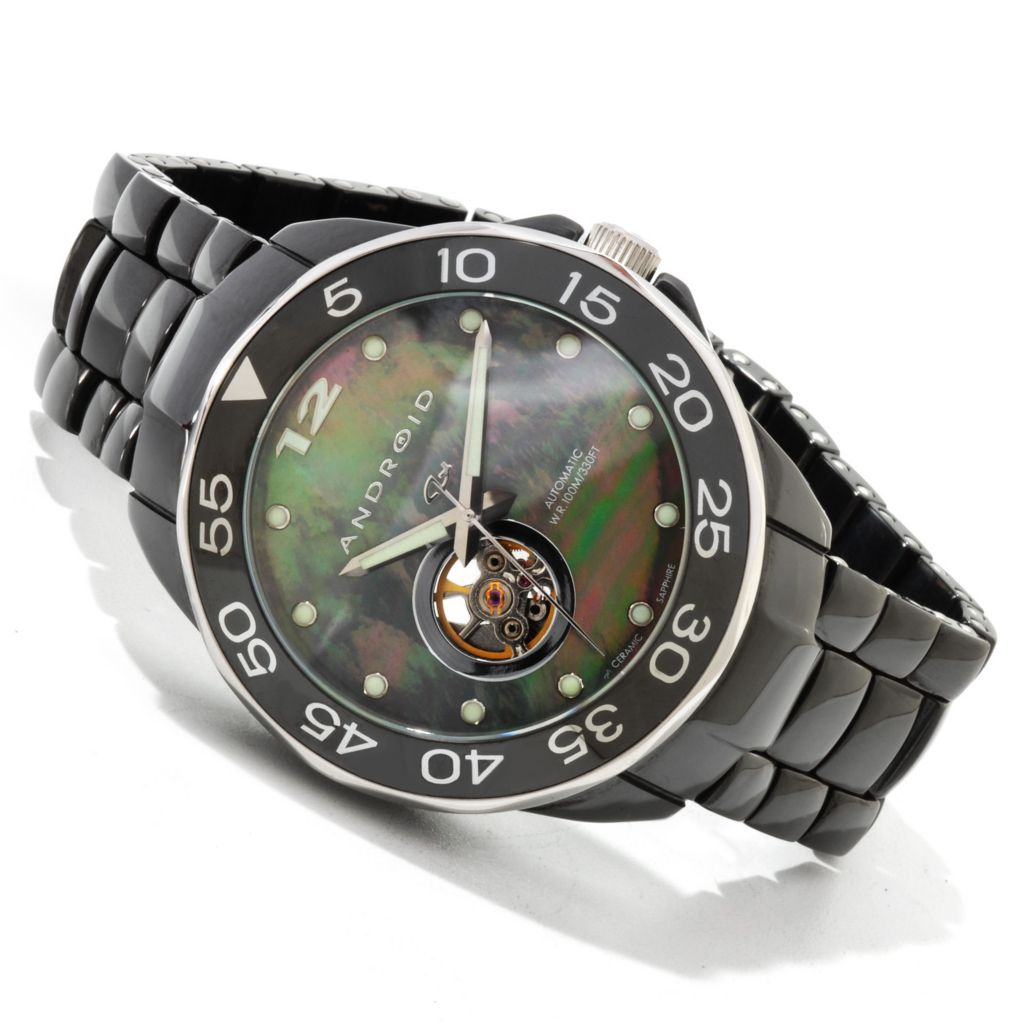 607-643 - Android Divemaster Mystic Automatic Mother-of-Pearl Open Heart Ceramic Watch