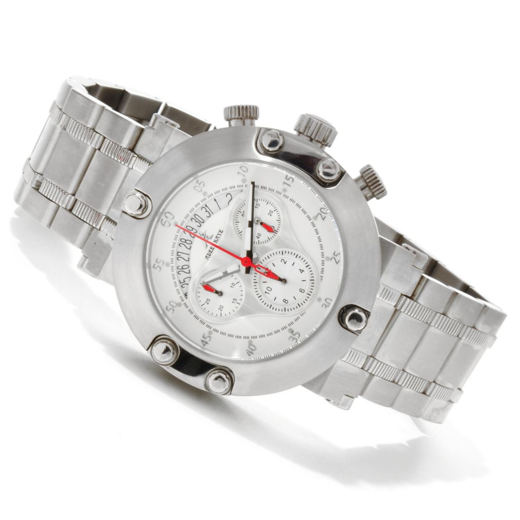 607-669 - Adee Kaye 44mm Atlantic Quartz Chronograph Stainless Steel Bracelet Watch
