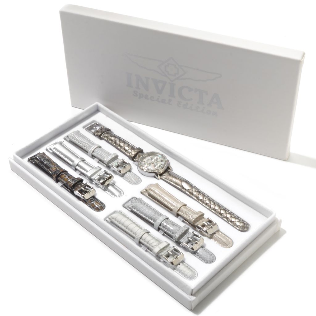 607-827 - Invicta Women's Wildflower Classique Quartz Chronograph Crystal Accented Watch w/ 7-Piece Strap Set