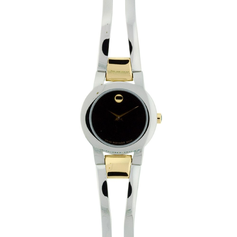 608-251 - Movado Women's Quartz Black Dial Two-Tone Stainless Steel Bracelet Watch