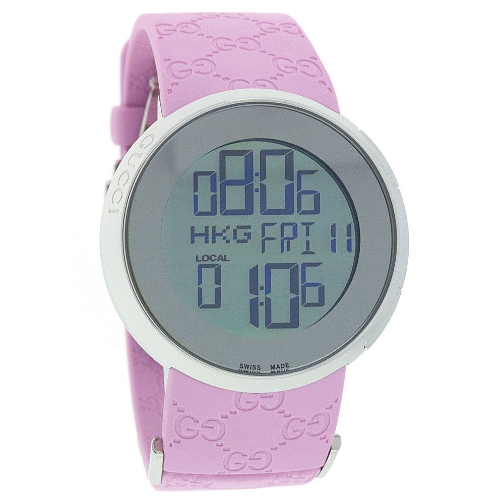 608-377 - Gucci Women's Swiss Quartz Digital Pink Rubber Strap Watch