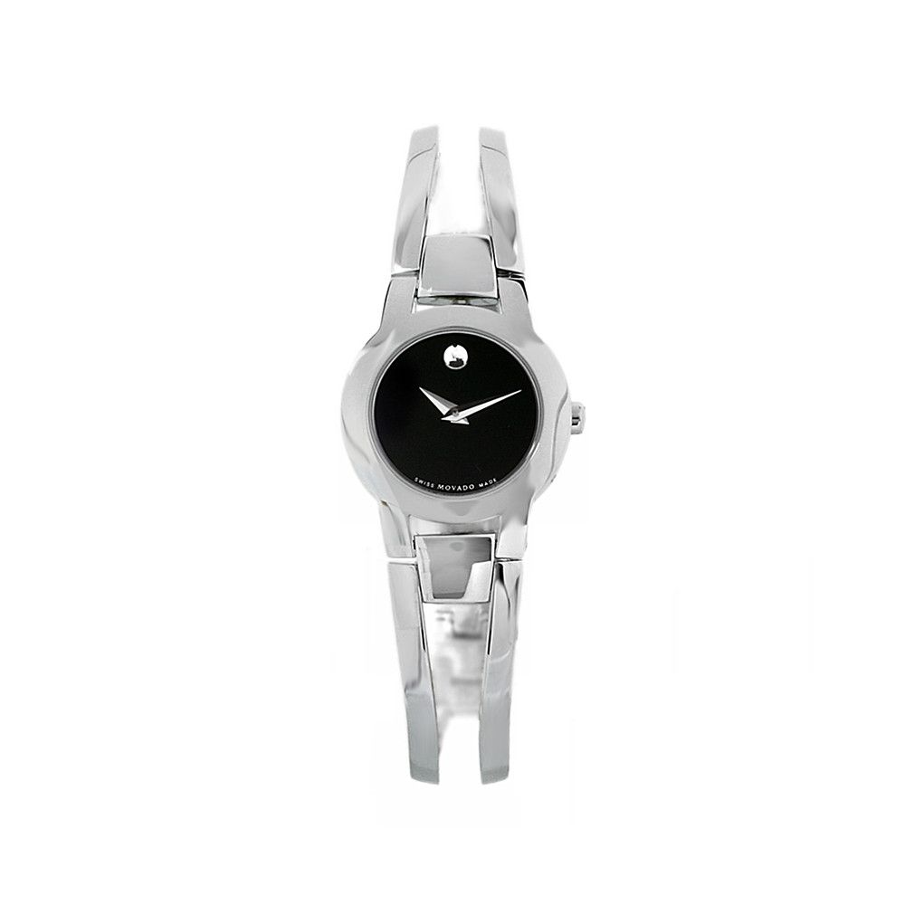 608-435 -  Movado Women's Black Dial & Stainless Steel Bracelet Watch