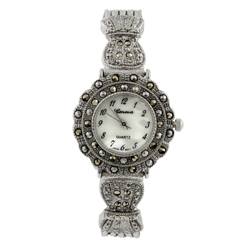 608-469 - Geneva Platinum Women's Marcasite Antique Style Bracelet Watch