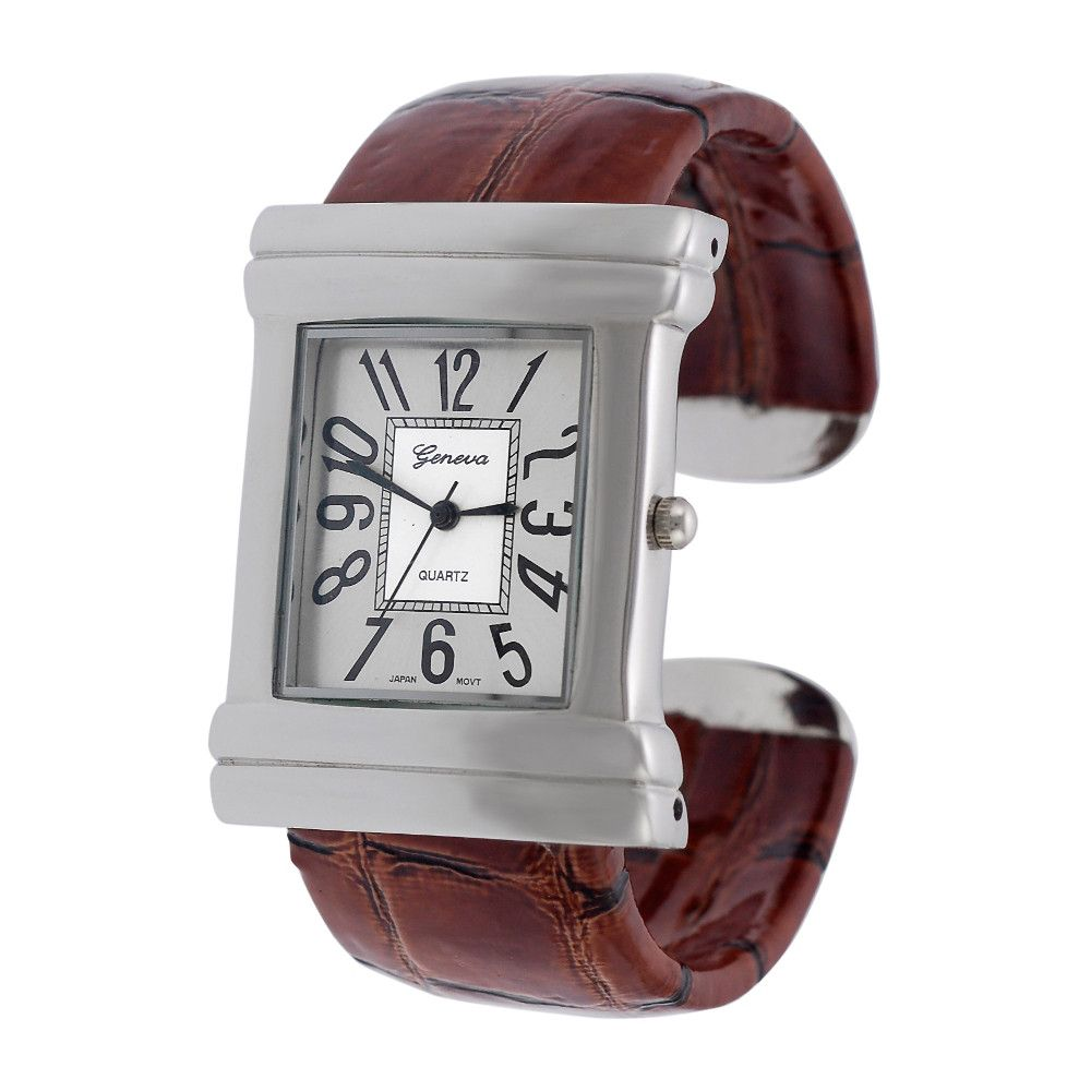 608-486 - Geneva Platinum Women's Brown Crocodile Design Bracelet Watch
