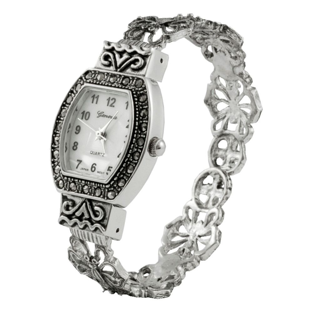 608-511 - Geneva Platinum Women's Marcasite Bracelet Watch
