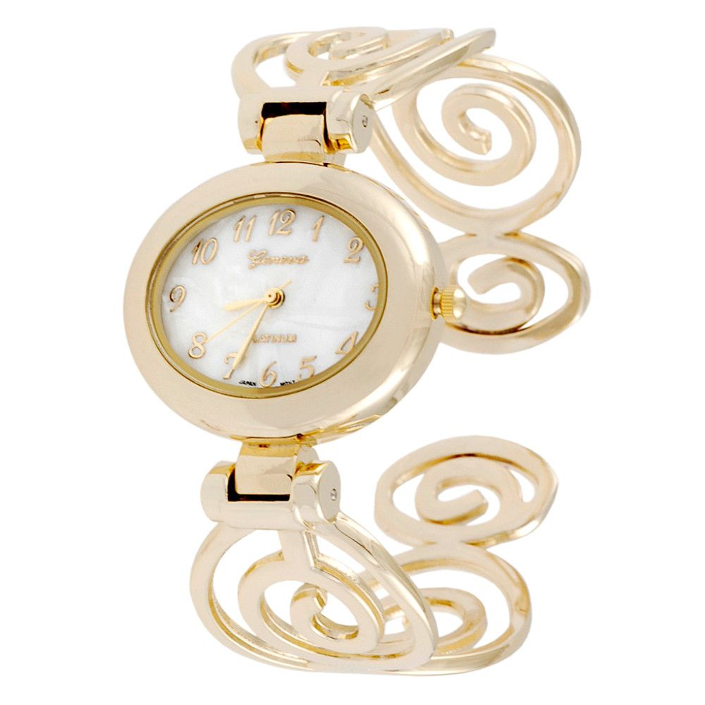 608-517 - Geneva Platinum Women's Polished Swirl Cuff Bracelet Watch
