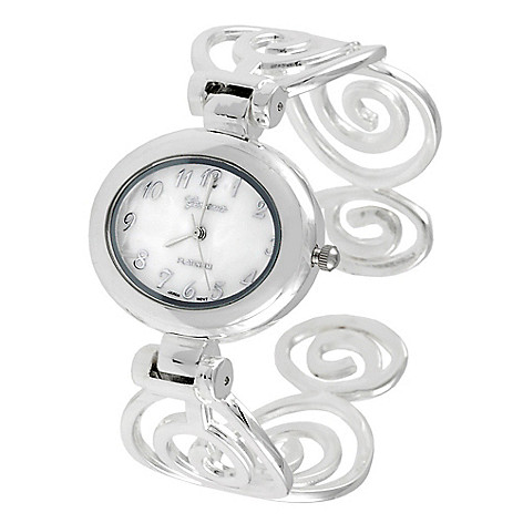 608-518 - Geneva Platinum Women's Polished Swirl Cuff Bracelet Watch