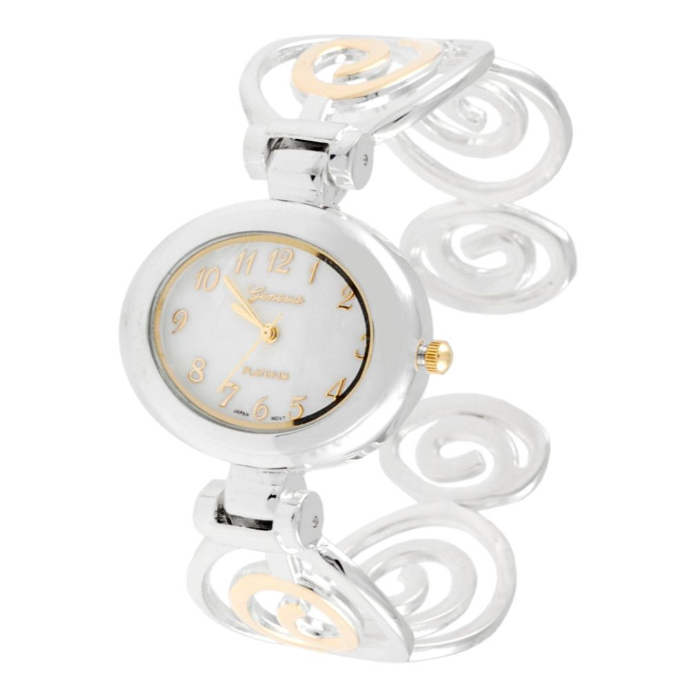 608-519 - Geneva Platinum Women's Polished Swirl Cuff Bracelet Watch