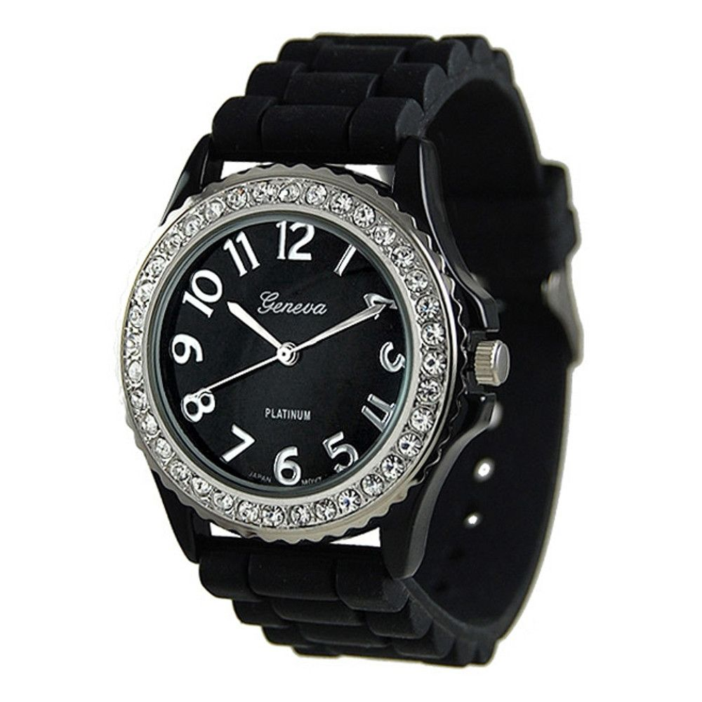 608-529 - Geneva Platinum Women's Black Silicone Link Strap Watch