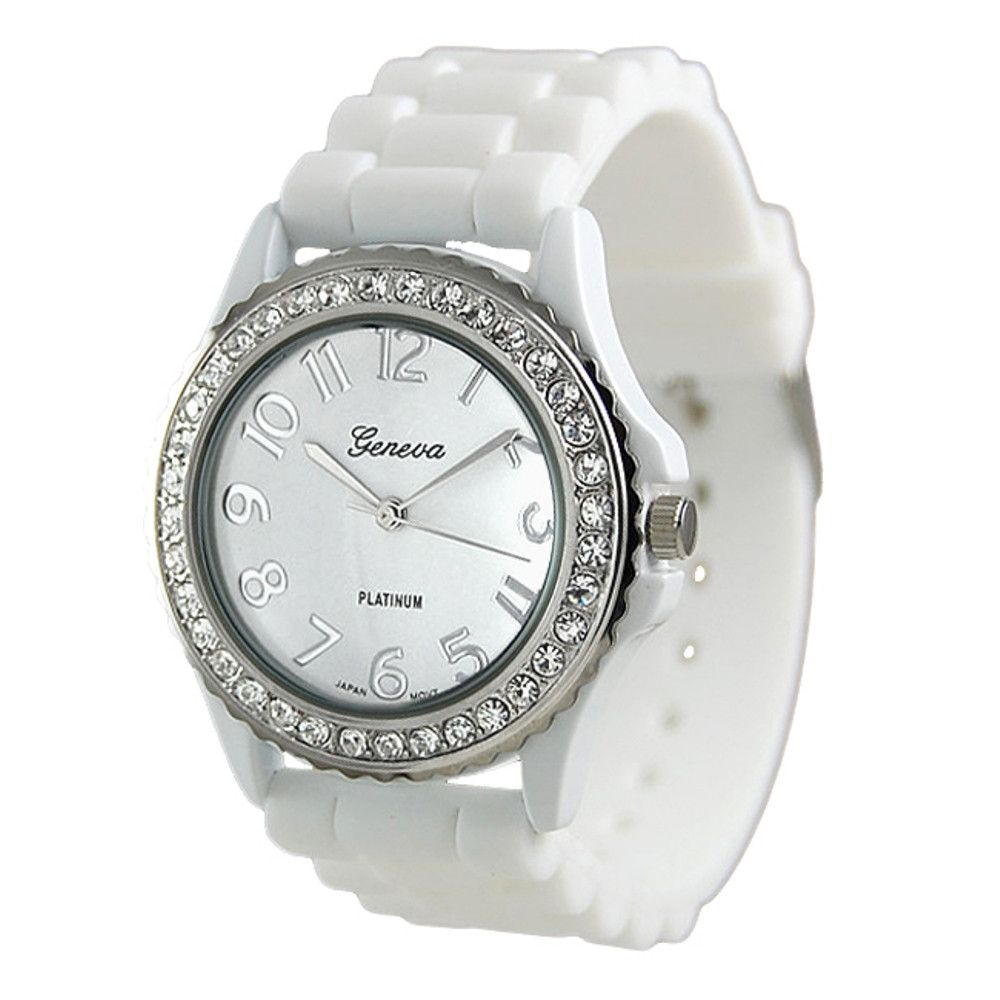 608-547 - Geneva Platinum Women's White Silicone Link Strap Watch