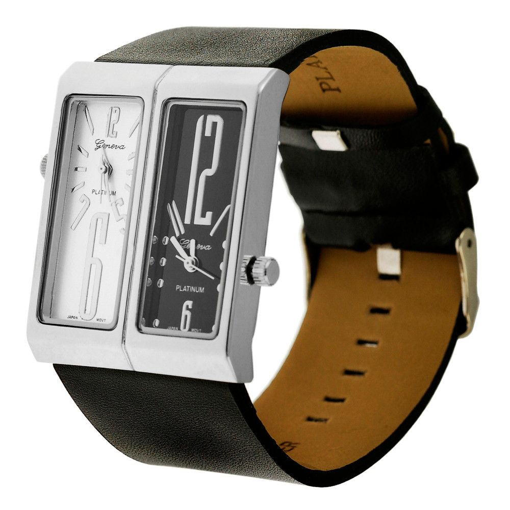 608-600 - Geneva Platinum Rectangular Quartz Strap Watch
