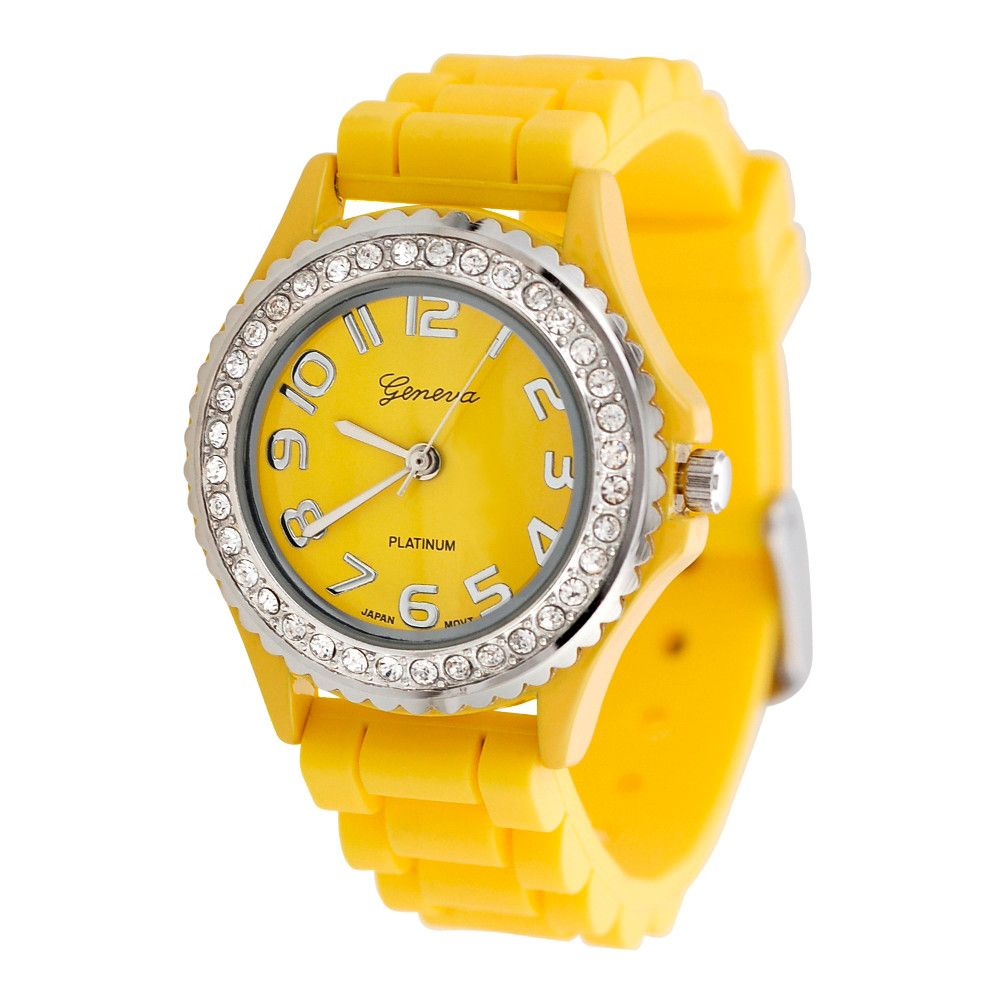 608-633 - Geneva Platinum Women's Quartz Yellow Silicone Rubber Strap Watch