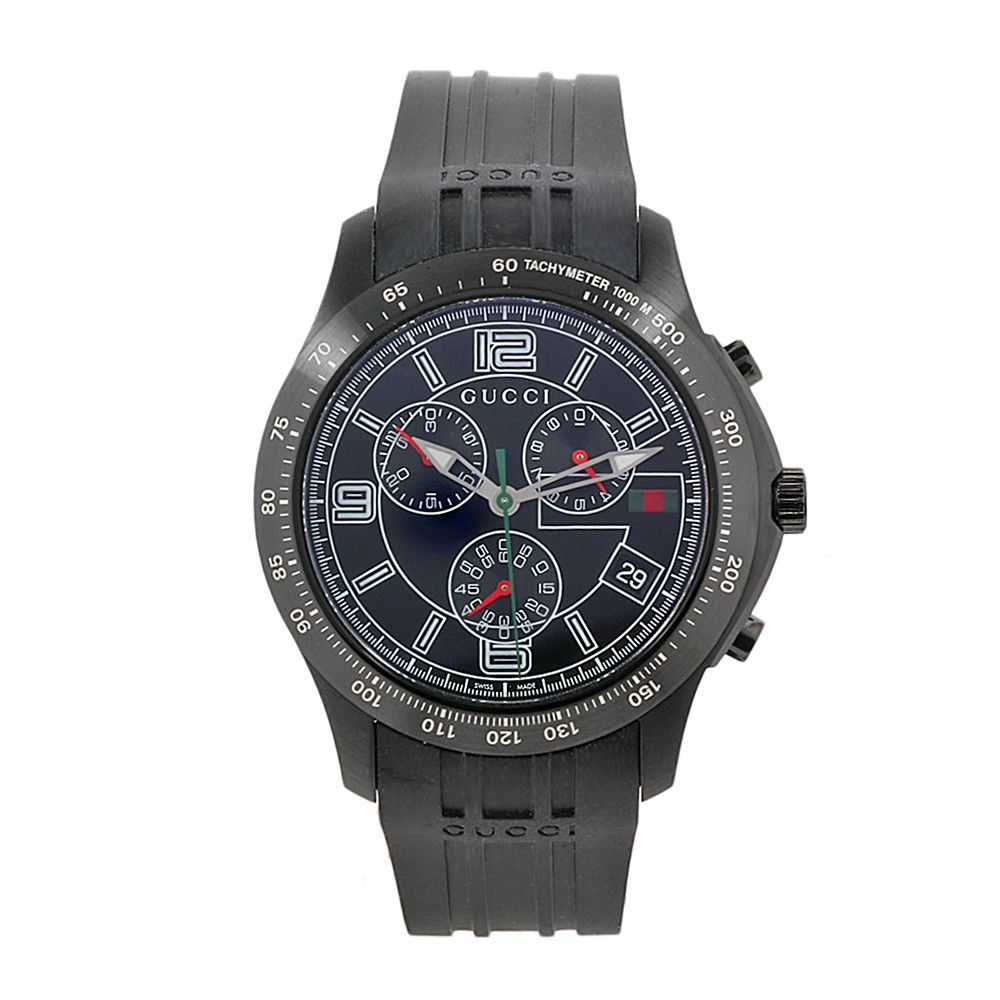 608-699 - Gucci Men's Black Dial & Rubber Strap Watch