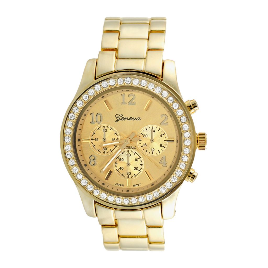 608-797 - Geneva Platinum Women's Japanese Quartz Gold-tone Cubic Zirconia Accented Watch
