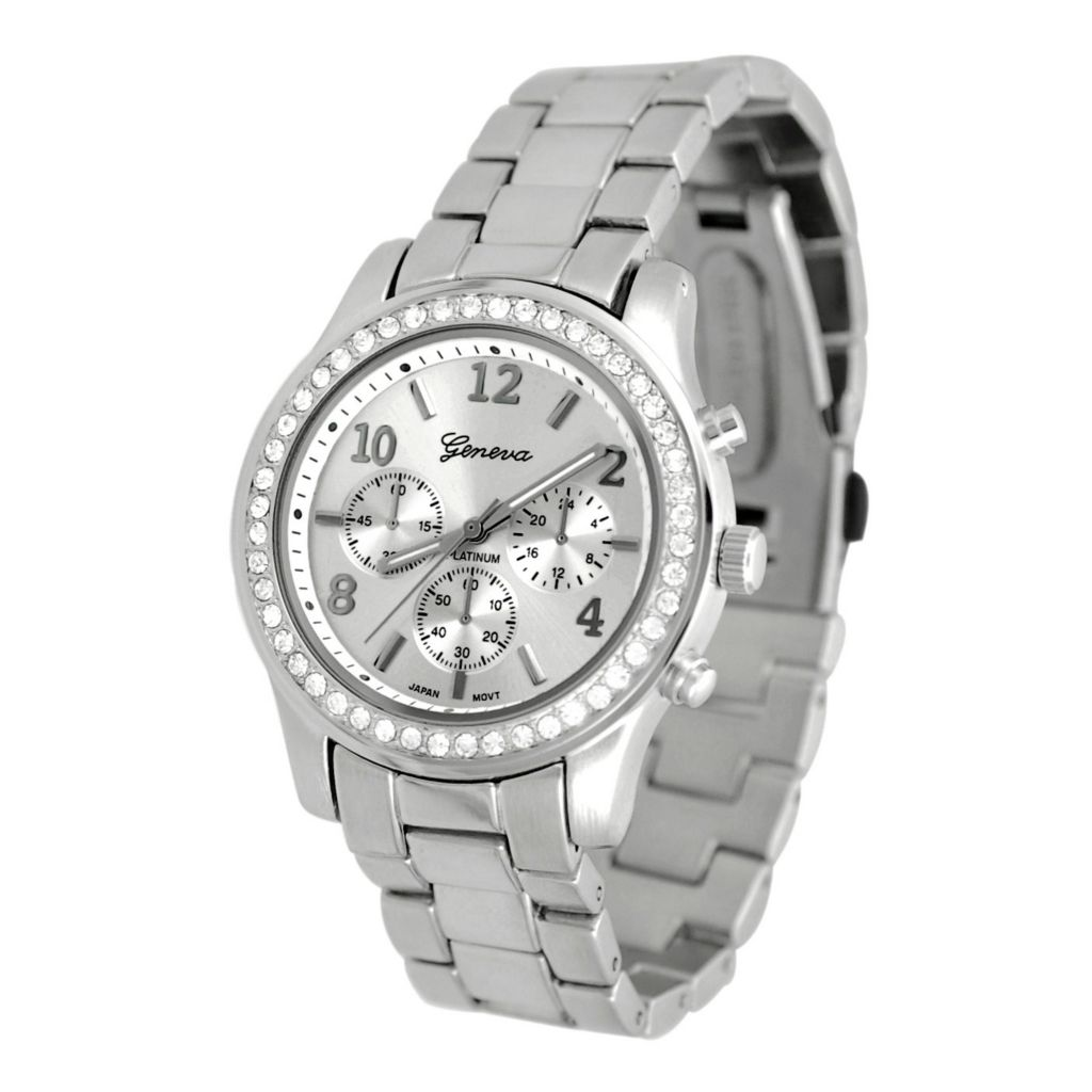 608-799 - Geneva Platinum Women's Japanese Quartz Silver-tone Cubic Zirconia Accented Watch