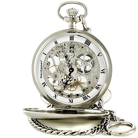 608-898 - Steinhausen Men's Tasche V Silver-tone Skeleton Pocket Watch