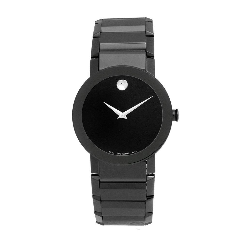 609-348 - Movado Men's Swiss Quartz Black Stainless Steel Bracelet Watch