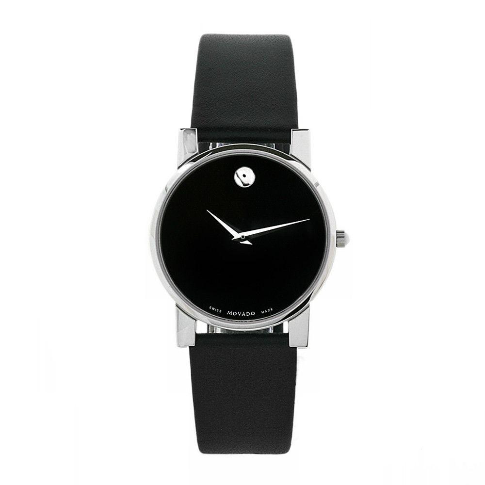 609-460 - Movado Men's Classic Museum Swiss Quartz Black Leather Strap Watch