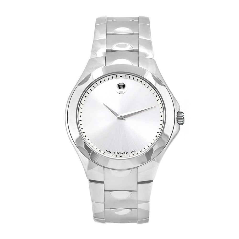 609-484 - Movado 43mm Luno Swiss Quartz Round Silver-tone Case Watch