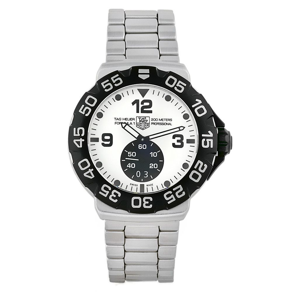 609-512 - Tag Heuer Men's Formula 1 Swiss Quartz White Dial Stainless Steel Bracelet Watch