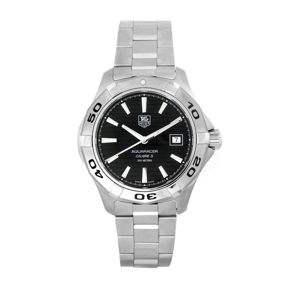 609-518 - Tag Heuer 40mm Aquaracer Swiss Quartz Black Dial Silver-tone Bracelet Watch