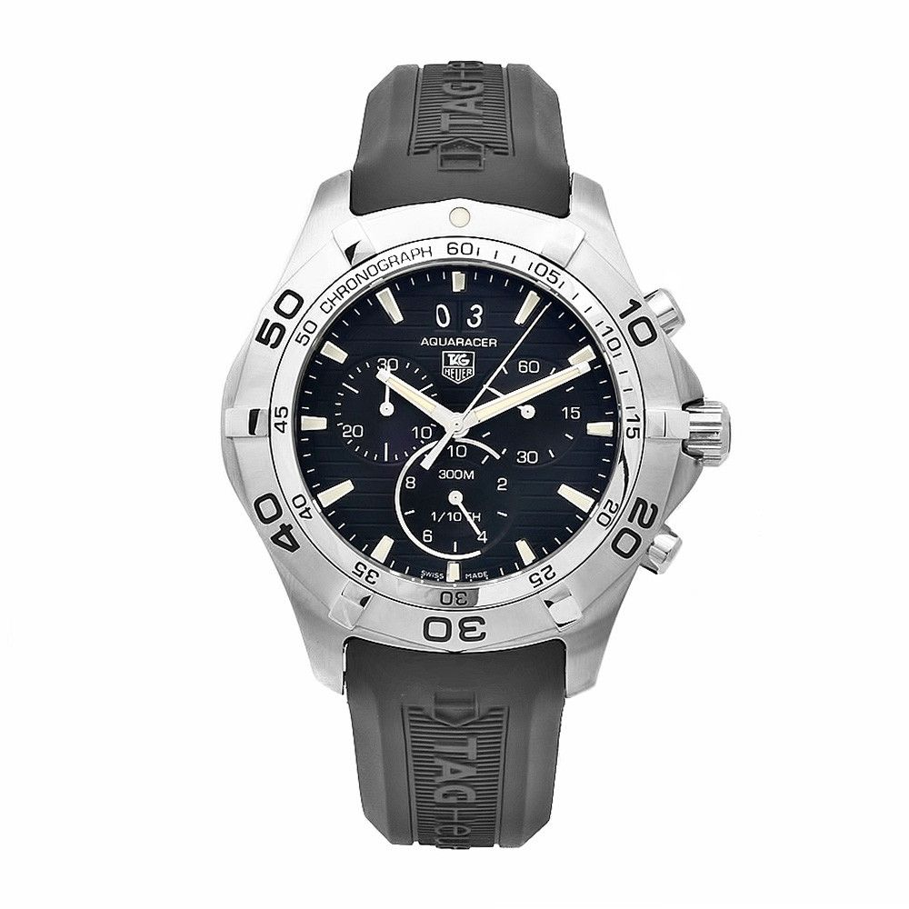 609-578 - Tag Heuer 43mm Aquaracer Swiss Quartz Chronograph Black Rubber Strap Watch