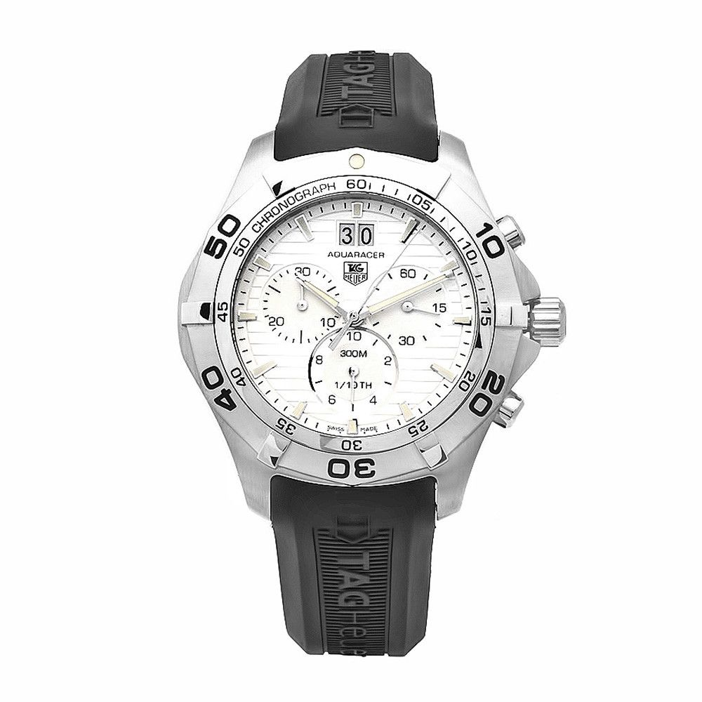 609-579 - Tag Heuer 43mm Aquaracer Swiss Quartz Chronograph Silver-tone Dial Rubber Strap Watch