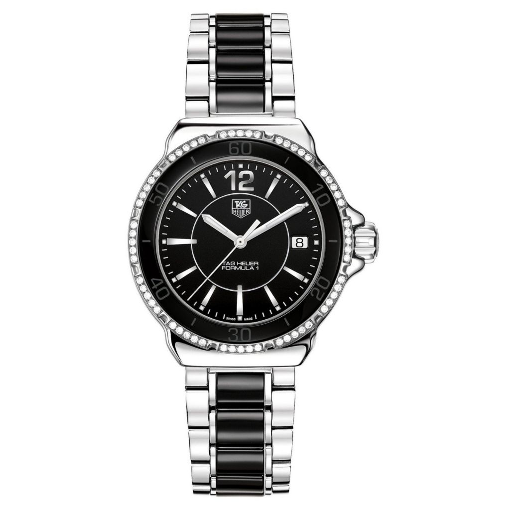 609-664 - Tag Heuer Women's Formula 1 Swiss Quartz Diamond Bezel Black & Silver-tone Bracelet Watch