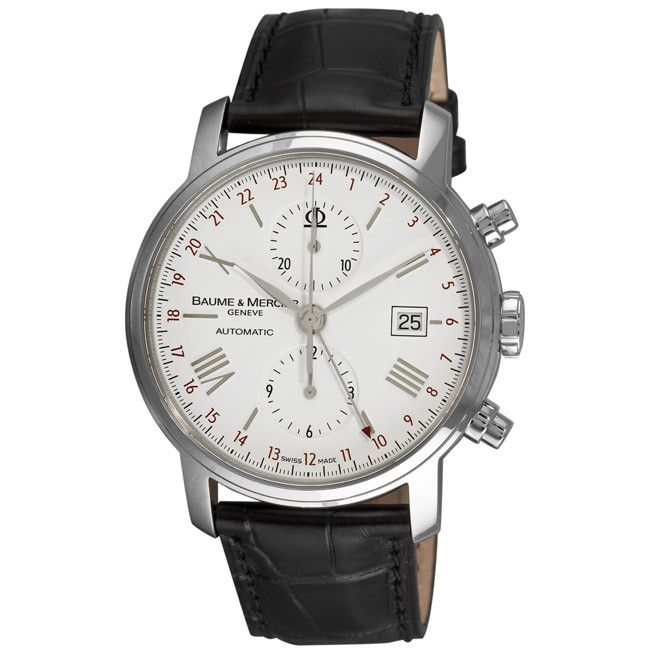 609-715 - Baume & Mercier Men's Classima Swiss Automatic GMT Leather Strap Watch