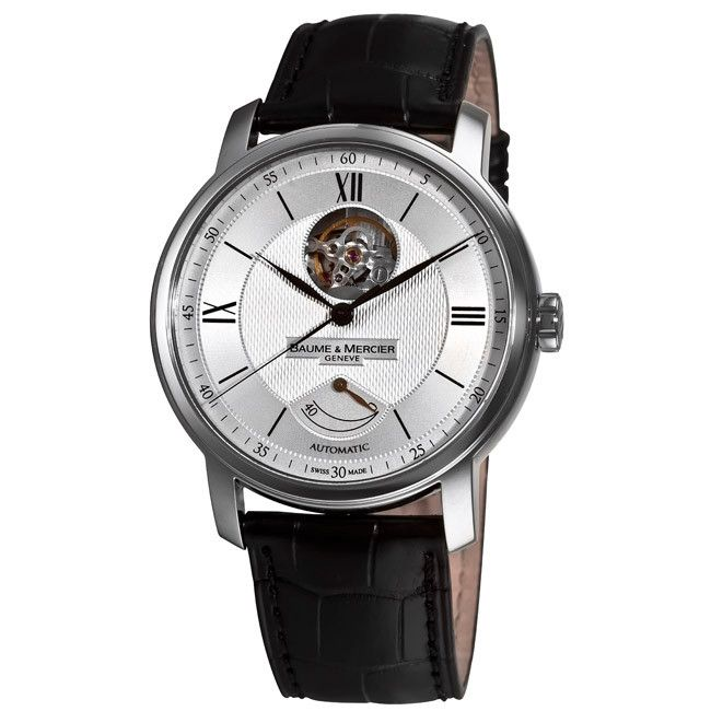 609-720 - Baume & Mercier Men's Swiss Automatic Guilloche Dial Black Leather Strap Watch