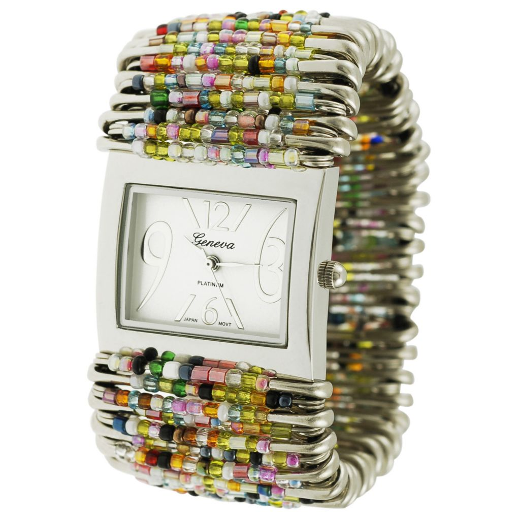 609-807 - Geneva Platinum Women's Quartz Rectangular Case Multi-Color Beads & Safety Pins Watch