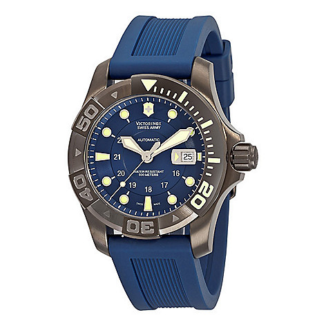 610-006 - Victorinox Swiss Army 45mm Swiss Automatic Divers Exhibition Case Back Blue Rubber Strap Watch