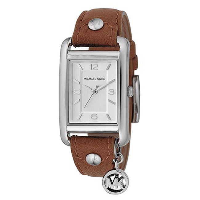 610-084 - Michael Kors Women's MK Logo Charm Quartz Leather Strap Watch