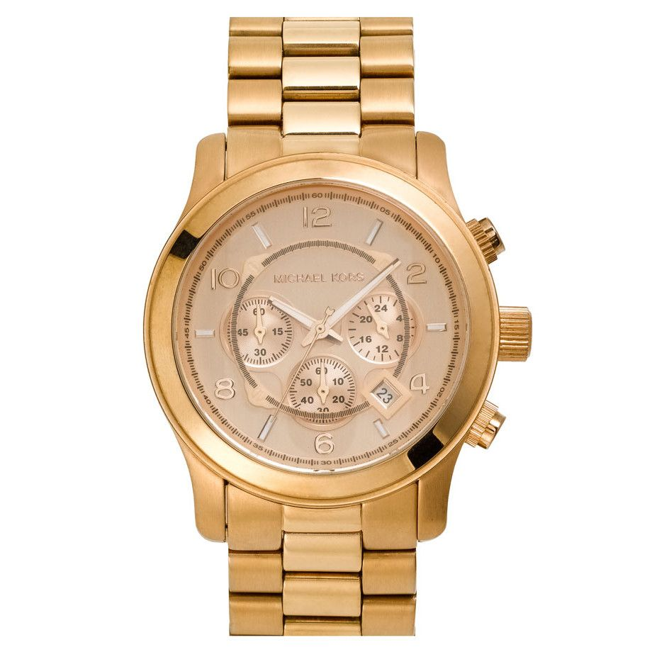 610-087 - Michael Kors 46mm Runway Quartz Chronograph Rose-tone Bracelet Watch