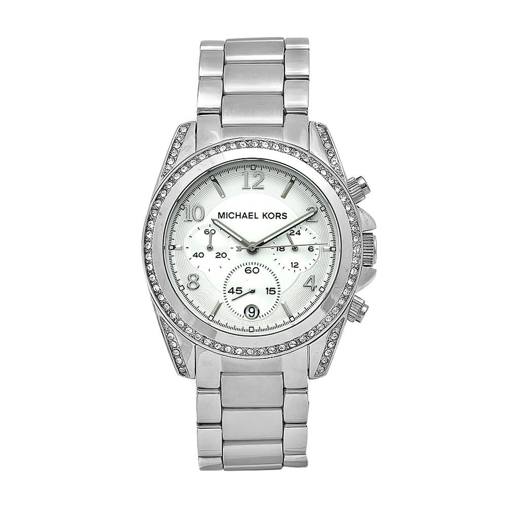 610-236 - Michael Kors Women's Classic Japanese Quartz Crystal Accented Chronograph Silver-tone Dial Watch