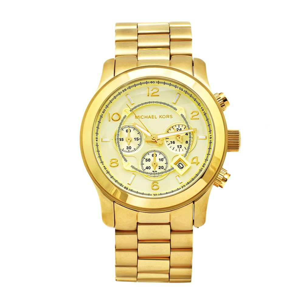 610-254 - Michael Kors 44mm Runway Japanese Quartz Gold-tone Chronograph Round Case Bracelet Watch