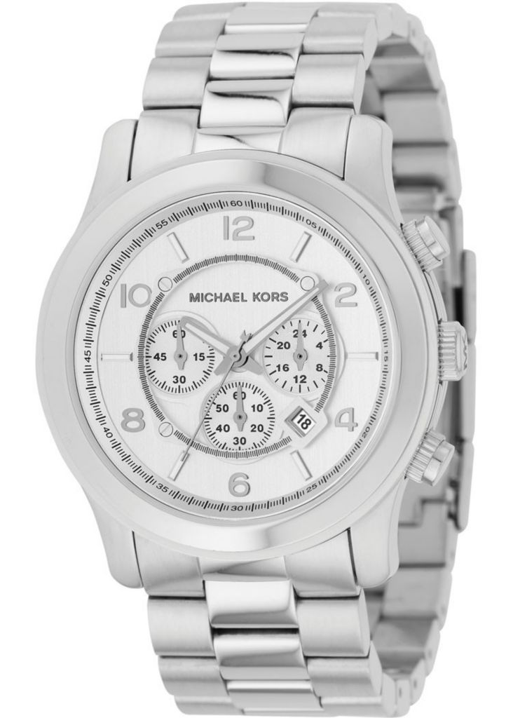 610-255 - Michael Kors 46mm Classic Japanese Quartz Silver-tone Chronograph Dial Bracelet Watch